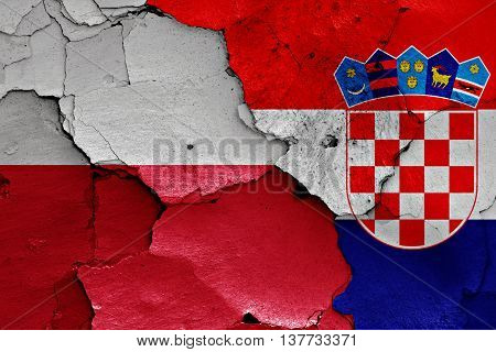 Flags Of Poland And Croatia Painted On Cracked Wall