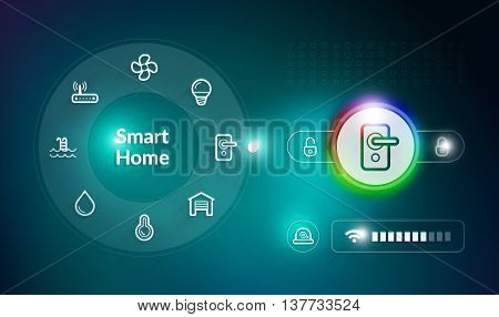 Smart home control system concept with door lock control setting