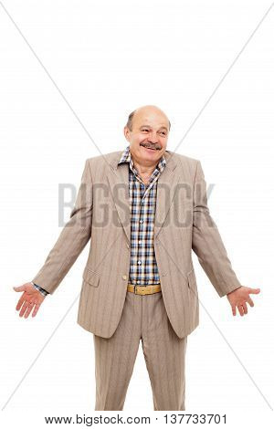 elderly bold businessman or manager shrugs from ignorance