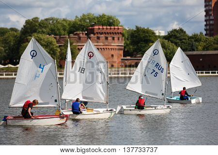 Kaliningrad Russia - July 09 2016: Regatta Cup cosmonaut Leonov at the Verhnee Lake on City Day of Kaliningrad