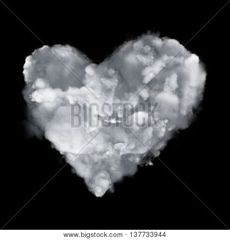 Cloud Love Icon With Heart Form