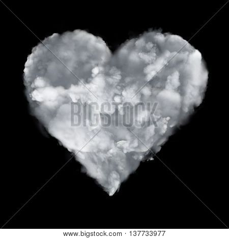 Cloud With Love Symmetry Icon With Heart Form