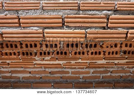 Close Up Unfinished Brickwork In The Temple