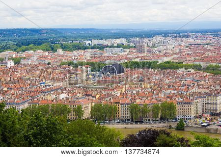 Lyon, France - aerial view of the city skyline