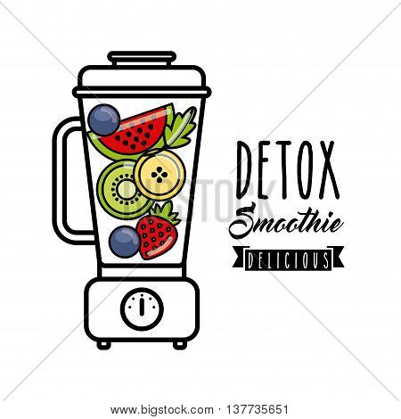 Smoothie and Juice concept represented by tropical detox and blender icon. Isolated and flat illustration.