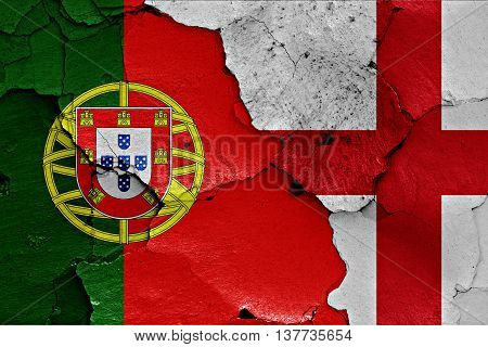 Flags Of Portugal And England Painted On Cracked Wall