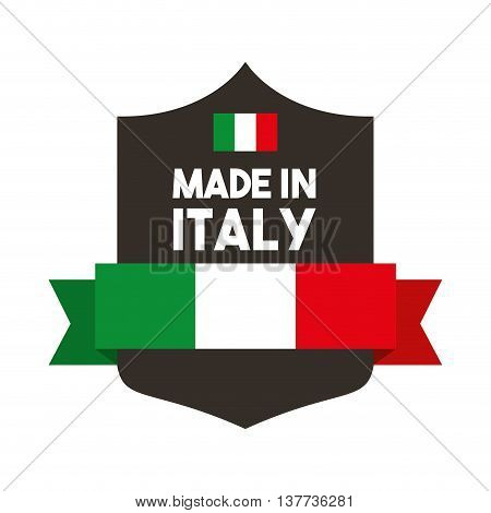 Italy culture concept represented by flag with shield icon. Isolated and flat illustration.