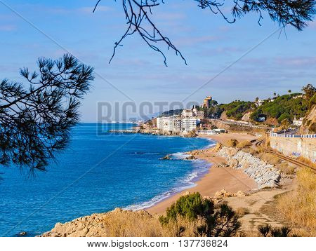 Beach and village of Sant Pol de Mar, Catalonia, Spain