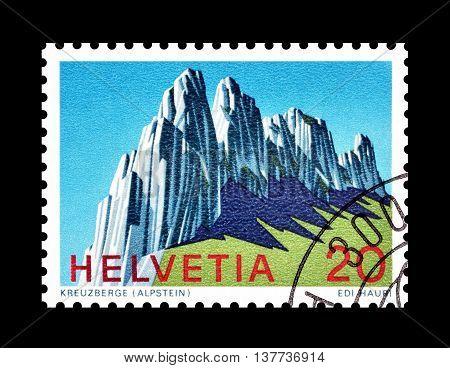 SWITZERLAND - CIRCA 1969 : Cancelled postage stamp printed by Switzerland, that shows Kreuzberge.