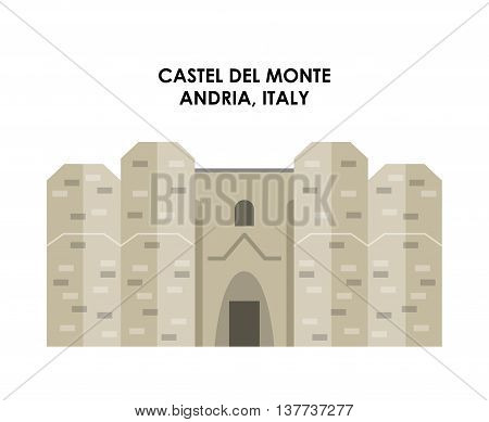 Italy culture concept represented by castel de monte icon. Isolated and flat illustration.