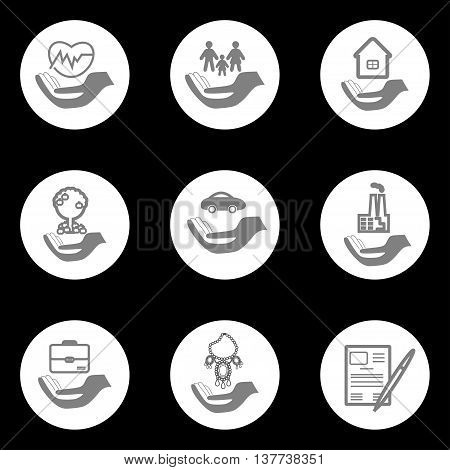 Set insurance pictograms in round shape - home auto health life insurance insurance luxury items agricultural and business risk insurance insurance package insurance policy