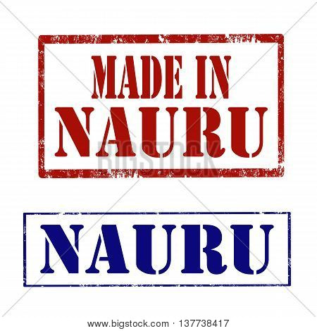 Set of stamps with text Made In Nauru and Nauru,vector illustration