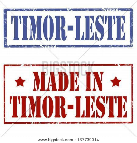 Set of stamp with text Timor-Leste,vector illustration