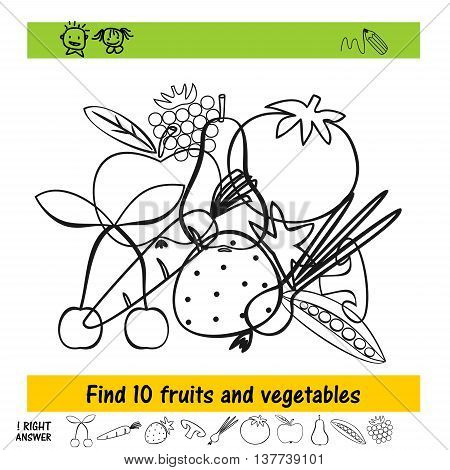 Homework For Kids How To Find The Ten Fruits And Vegetables
