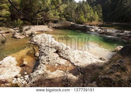 crossing Ulldemo river to Penya Galera. Teruel province
