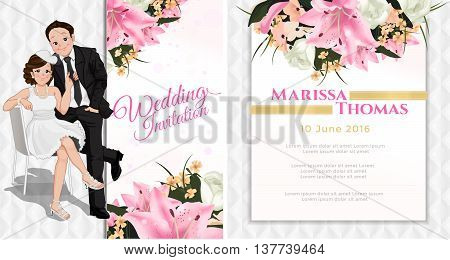 Wedding cartoon invitation card bride sitting on chair and pulling on man tie in white and pink flower theme luxury and modern style.