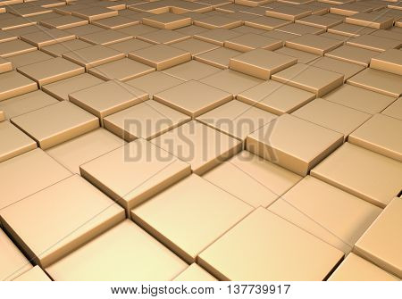Field of reflective metallic gold tiles at different heights