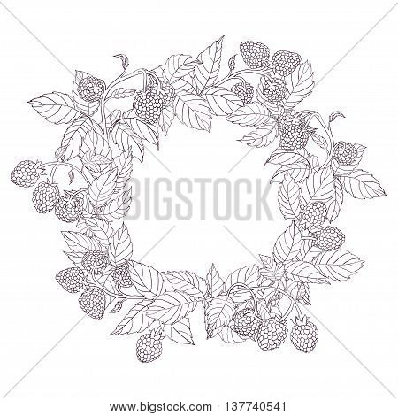 Round wreath or frame of branches of raspberry with leaves and berries on a white background. Branches painted dark tench and filled with white. Wreath isolated from the background.Vector illustration