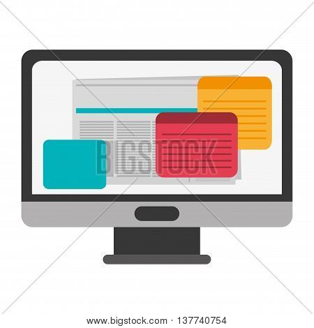 Computer monitor screen flat icon Isolated vector illustration