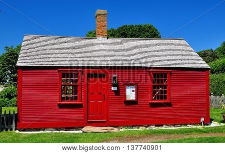 Middletown Rhode Island - July 16 2015: 1715 Hicks House orignally the Bristol ferryman's home at Prescott Farm historic site *