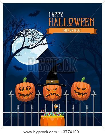 Classic Halloween design with pumpkins, dark castle, full moon, bats flying and a bag of candies