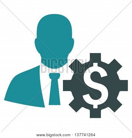 Banker Options vector icon. Style is bicolor flat symbol, soft blue colors, white background.