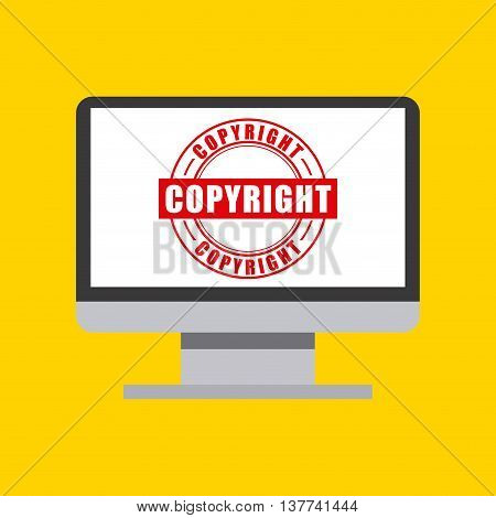 Copyright concept represented by computer icon. Colorfull and flat illustration.