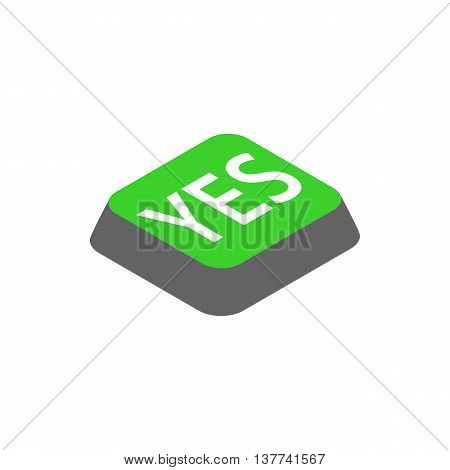 Click yes button icon in isometric 3d style isolated on white background. Choise symbol