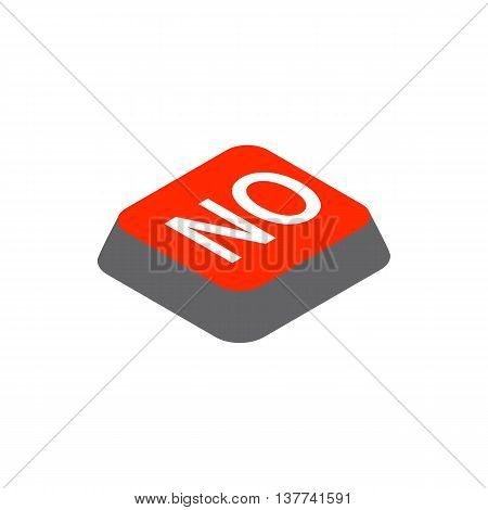 Click no button icon in isometric 3d style isolated on white background. Choise symbol