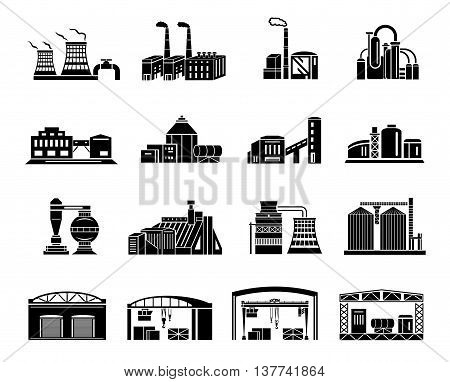 Set of Factory building, production equipment, cranes and warehouses. silhouettes on a white background for any design style