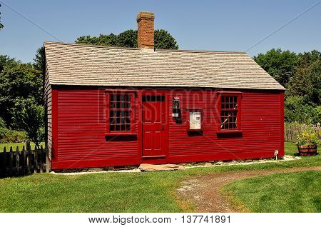 Middletown Rhode Island - July 16 2015: 1715 Hicks House orignally the Bristol ferryman's home at Prescott Farm historic site
