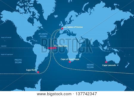 Sailing race around the world, from Les Sables d'Olonne to Les Sables d'Olonne (France)
