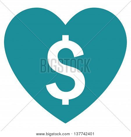 Paid Love vector icon. Style is flat symbol, soft blue color, white background.