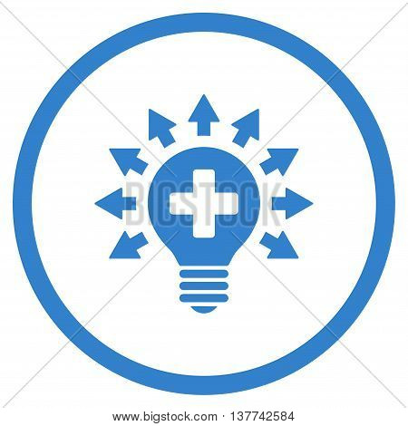 Disinfection Lamp vector icon. Style is flat circled symbol, cobalt color, rounded angles, white background.