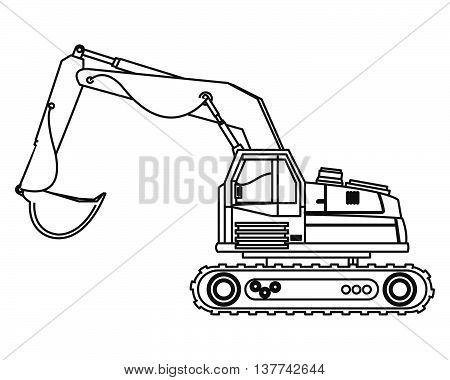 flat design backhoe machine icon vector illustration
