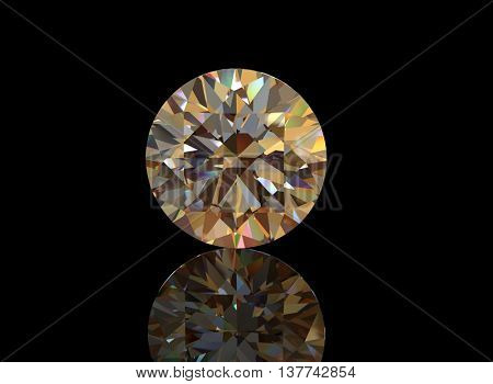 3D illustration of  Diamond. Jewelry background. Fashion accessory. Gemstone