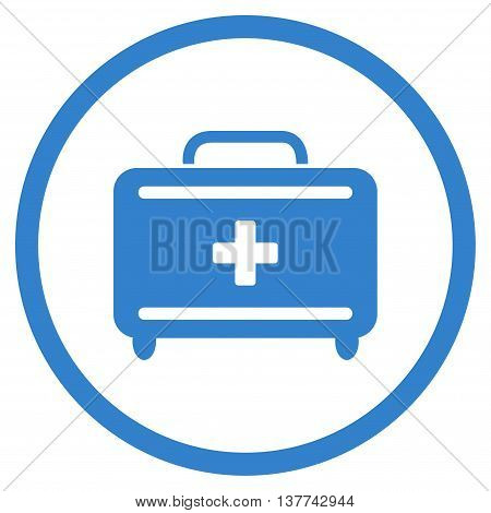 First Aid Toolkit vector icon. Style is flat circled symbol, cobalt color, rounded angles, white background.