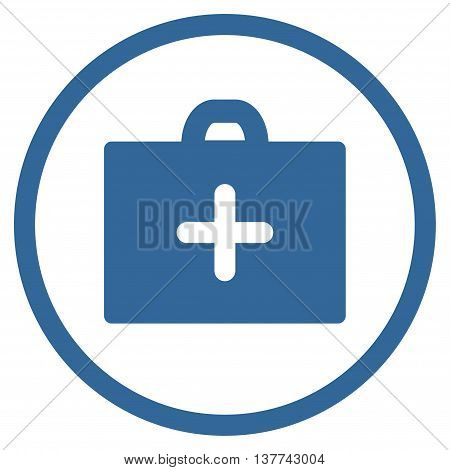 First Aid vector icon. Style is flat circled symbol, cobalt color, rounded angles, white background.