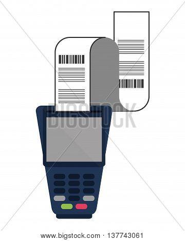 flat design dataphone with receipt icon vector illustration