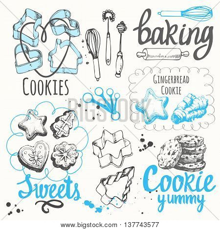 Figure cookies forms for cookies and biscuits with chocolate in sketch style. Vector illustration of fresh organic baking with cooking recipe. Funny labels with dessert pastries.