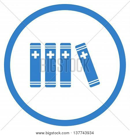 Medical Library vector icon. Style is flat circled symbol, cobalt color, rounded angles, white background.