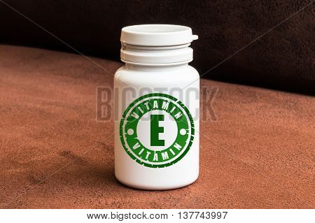 Bottle Of Pills With Vitamin E