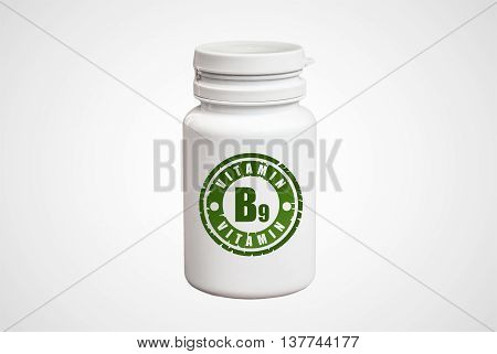 Bottle Of Pills With Vitamin B9