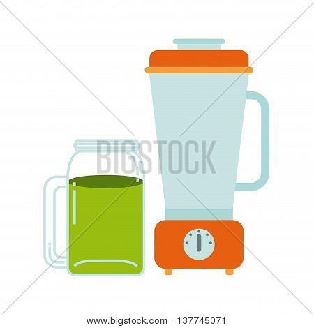 Organic food concept represented by detox and blender icon. Colorfull and flat illustration.
