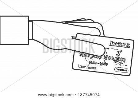 flat design credit or debit card icon vector illustration line design