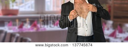 Disheveled Man In Suit With An Unbuttoned Shirt