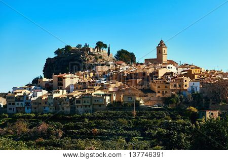 Castle church and old town of Polop de la Marina. Province of Alicante Costa Blanca. Spain