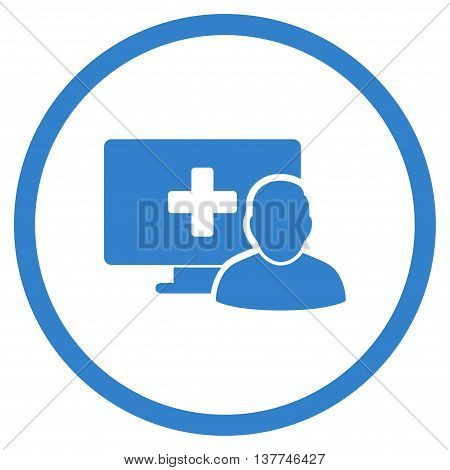 Online Medicine vector icon. Style is flat circled symbol, cobalt color, rounded angles, white background.