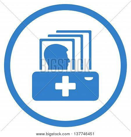 Sickness Catalog vector icon. Style is flat circled symbol, cobalt color, rounded angles, white background.