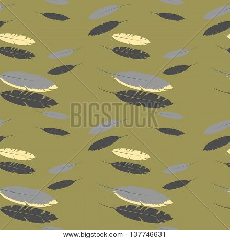 Seamless pattern with falling feathers .Vector Illustration.